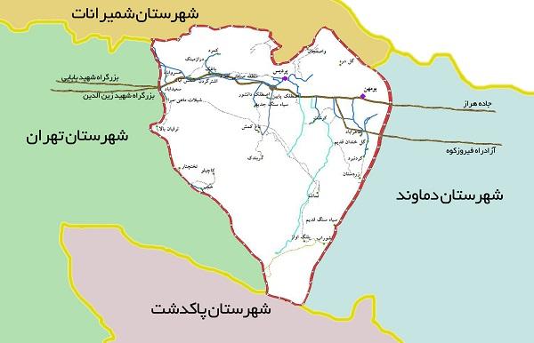 نقشه شهرستان پردیس