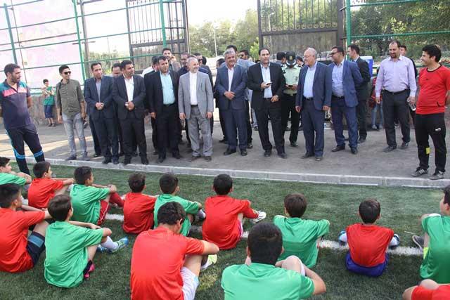 افتتاح زمین چمن مصنوعی در بومهن/ نامگذاری میدان شهید حججی در بومهن