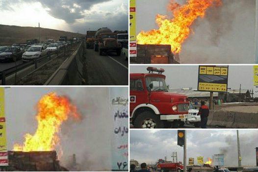 آتشسوزی در انبار کپسول گاز در محدوده صنعتی خرمدشت/ مسدود شدن جاده به روی خودروها
