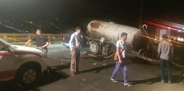 سقوط کامیون از روی پلکمربندی بومهن+عکس