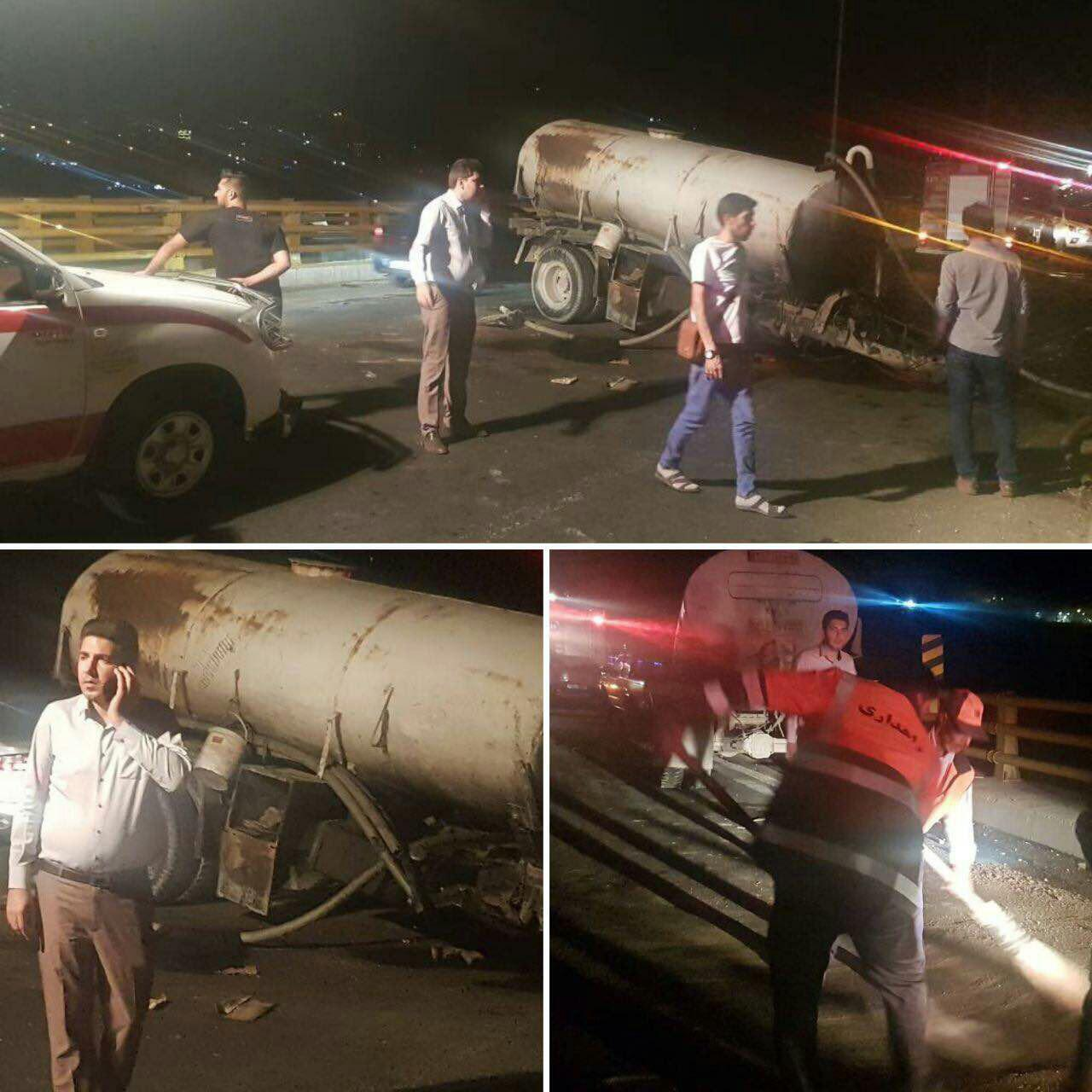سقوط کامیون از روی پلکمربندی بومهن