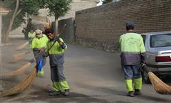 تصویر از اجرای طرح جهادی نظافت و رفت و روب شهری در خیابان دوستان بومهن